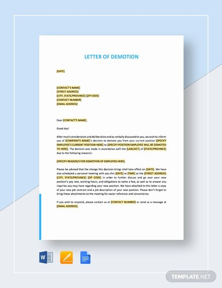 Sample Demotion Letter to Employee Luxury Resignation Letter Going Back to School Template Download