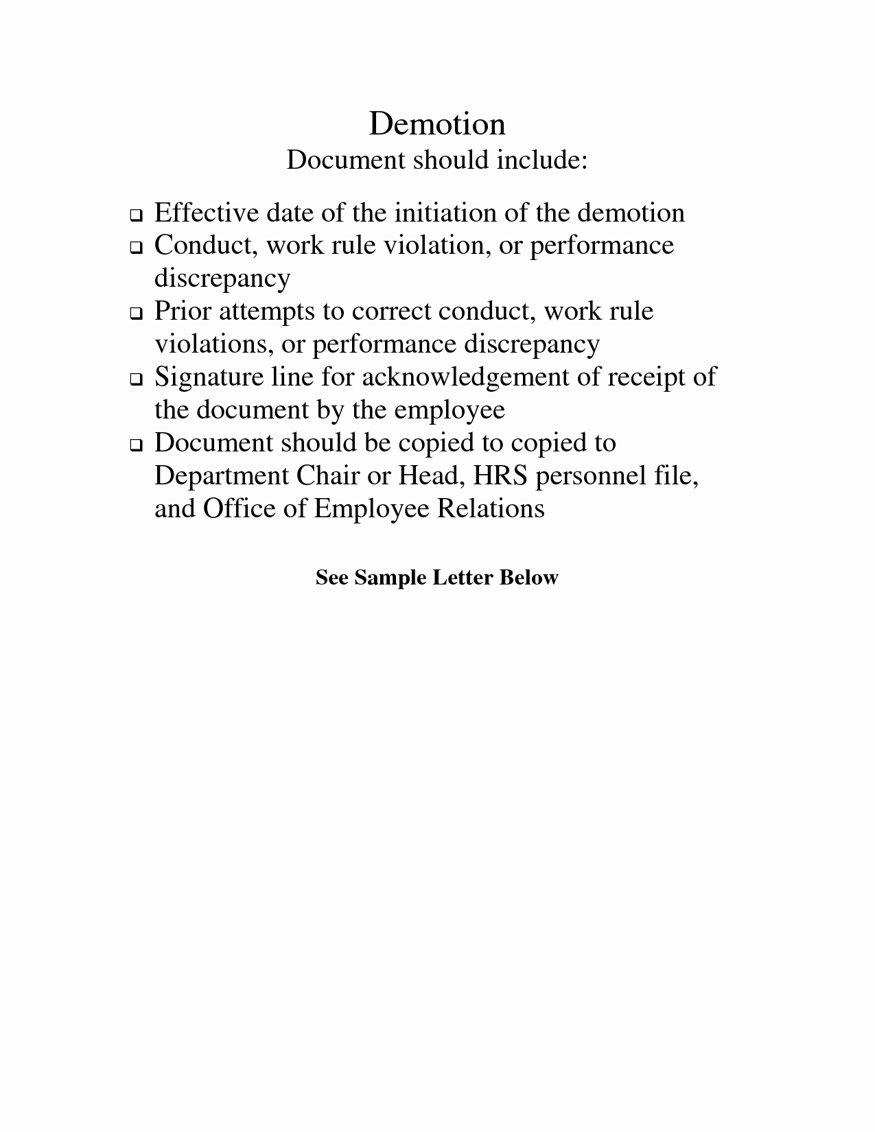 Sample Demotion Letter to Employee Unique Demotion Letter Template Free Printable Documents