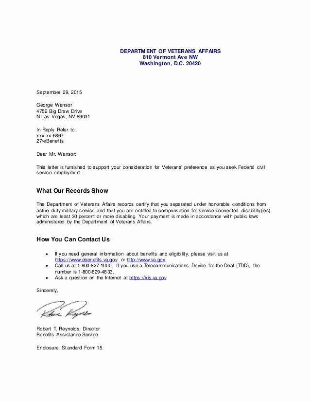 Sample Disability Letter From Physician Awesome Va Pensation Disability Letter 1