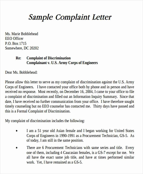 Sample Discrimination Complaint Letter Lovely Sample formal Letter format 34 Examples In Pdf Word