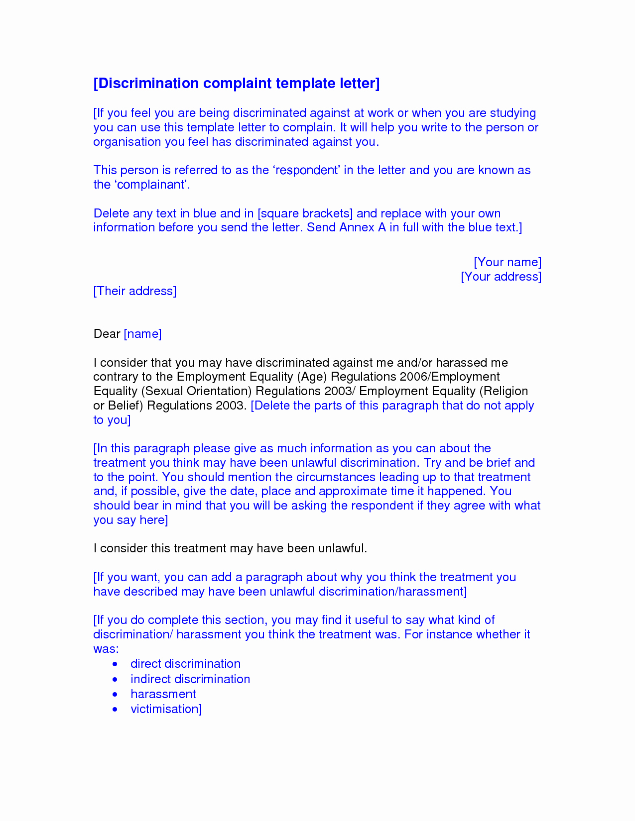 Sample Discrimination Complaint Letter Unique Best S Of formal Letter Plaint Discrimination