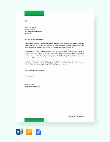 Sample Eagle Scout Recommendation Letter Beautiful 12 Sample Eagle Scout Re Mendation Letter Templates