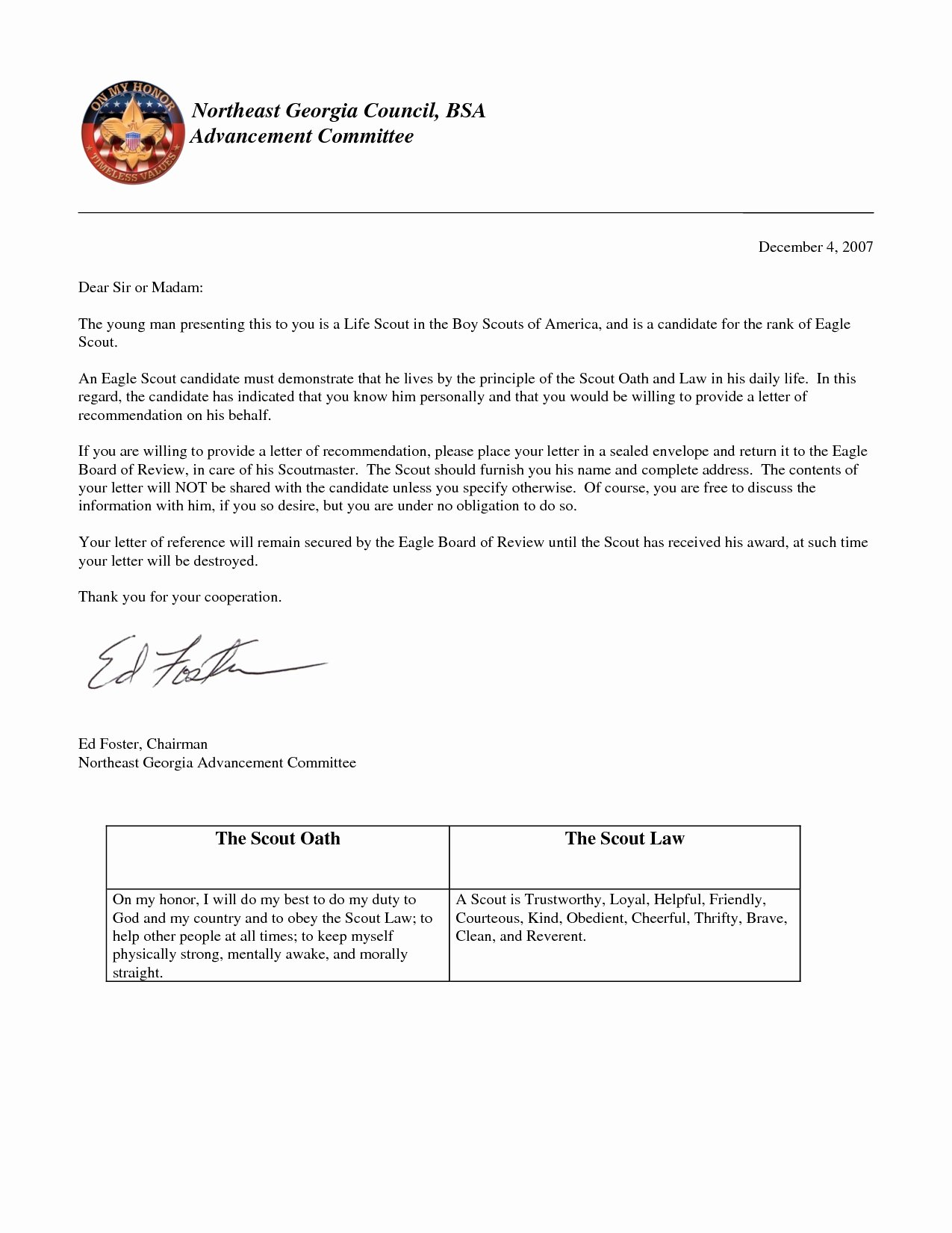 Sample Eagle Scout Recommendation Letter Best Of Eagle Scout Letter Re Mendation