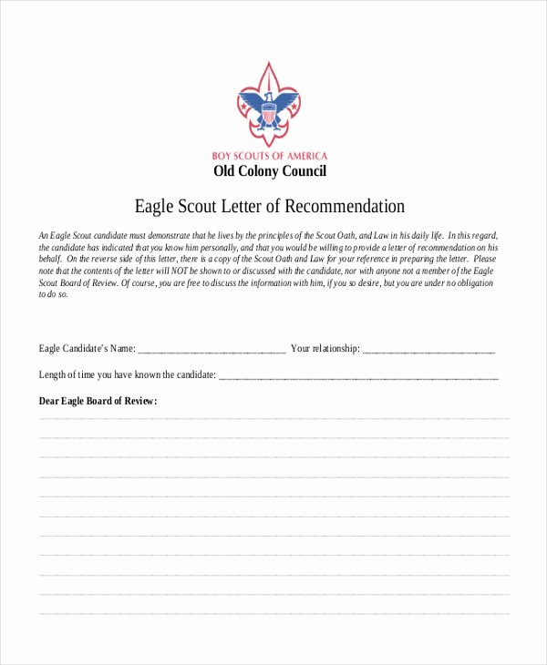 Sample Eagle Scout Recommendation Letter Inspirational 12 Sample Eagle Scout Re Mendation Letter Templates