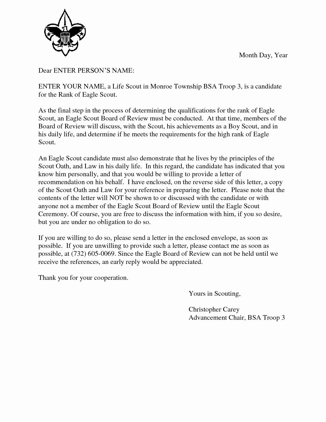 Sample Eagle Scout Recommendation Letter Lovely Eagle Scout Reference Request Sample Letter Doc 7 by