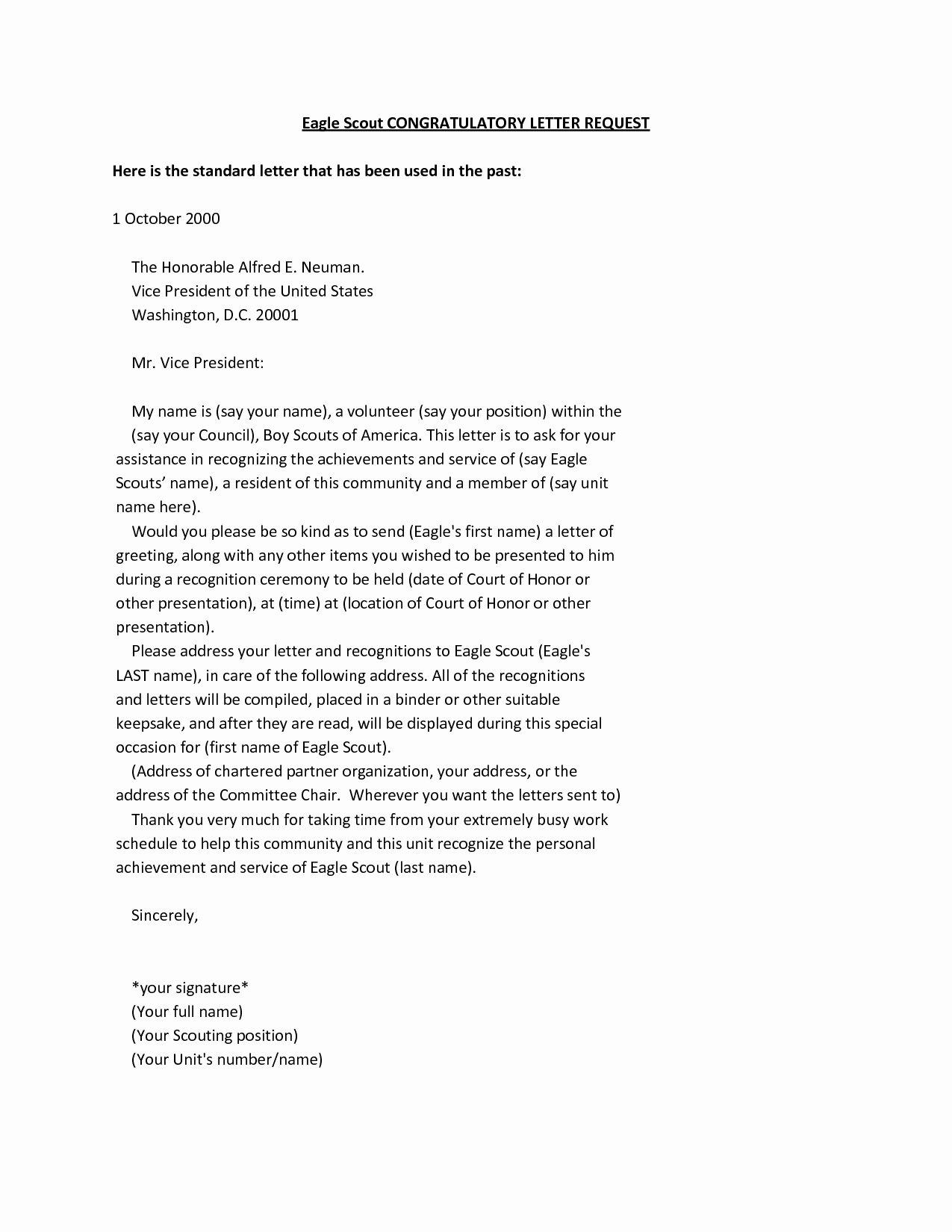 Sample Eagle Scout Recommendation Letter Luxury 10 Eagle Scout Letter Re Mendation Template