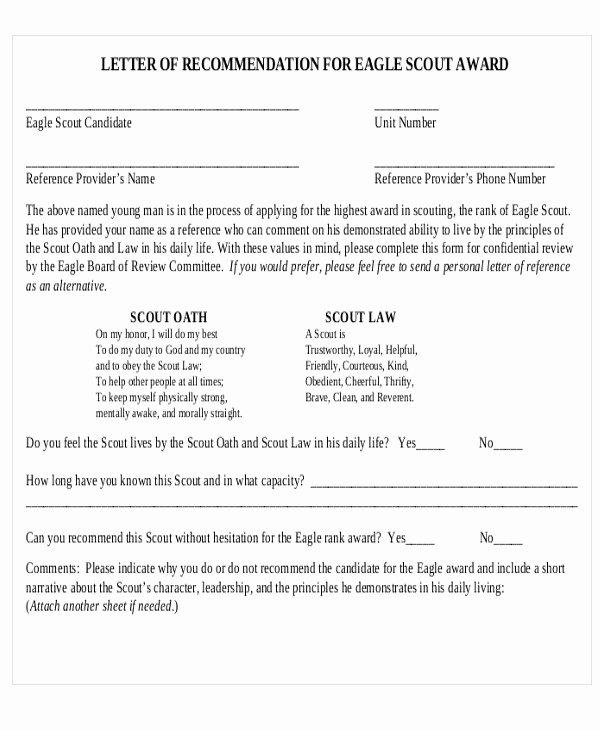 Sample Eagle Scout Recommendation Letter Luxury 12 Sample Eagle Scout Re Mendation Letter Templates