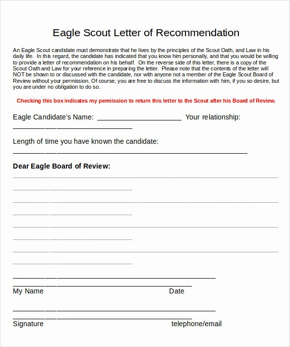 Sample Eagle Scout Recommendation Letter New Sample Eagle Scout Letter Of Re Mendation 9 Download