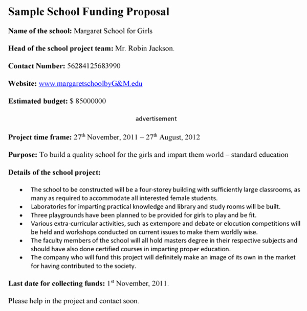 Sample Education Grant Proposal Best Of School Funding Proposal