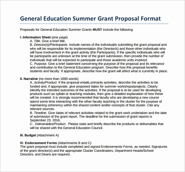Sample Education Grant Proposal Lovely Free 17 Sample Grant Proposal Templates In Word Pdf