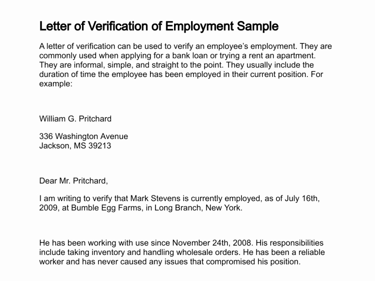 Sample Employee Verification Letter Best Of Letter Of Verification