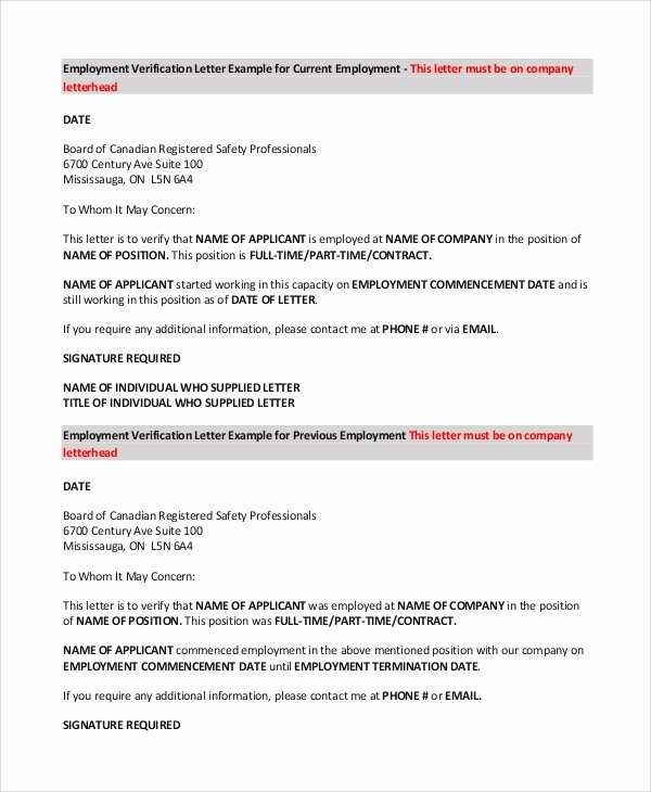 Sample Employee Verification Letter Best Of Sample Letter Of Employment 9 Examples In Pdf Word