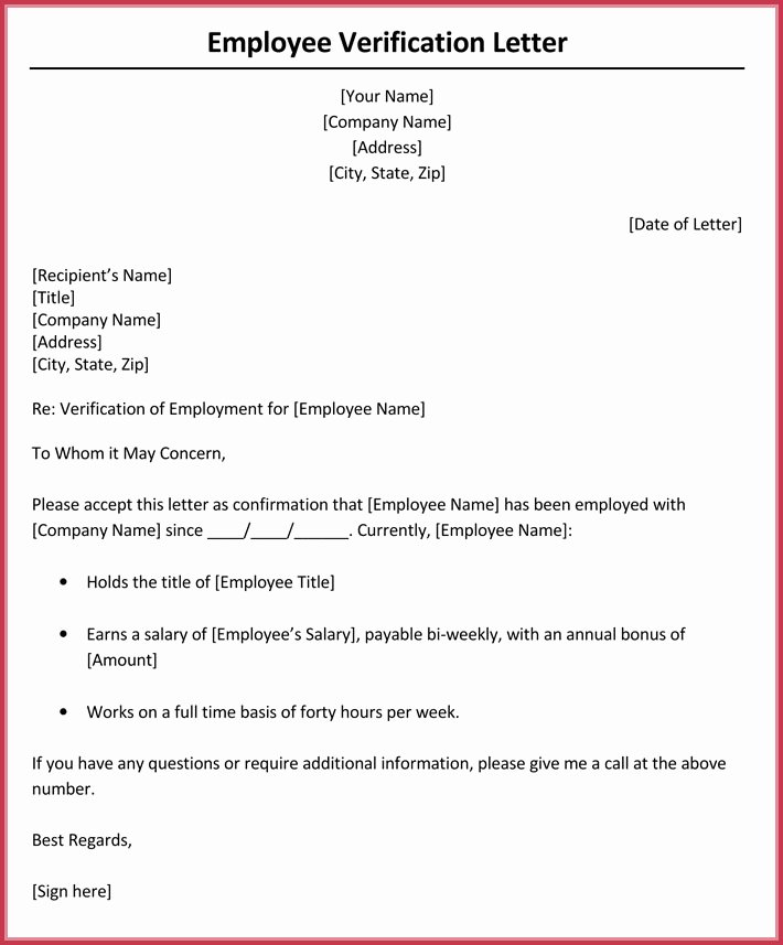 Sample Employee Verification Letter Fresh In E Verification Letter 6 Samples & formats