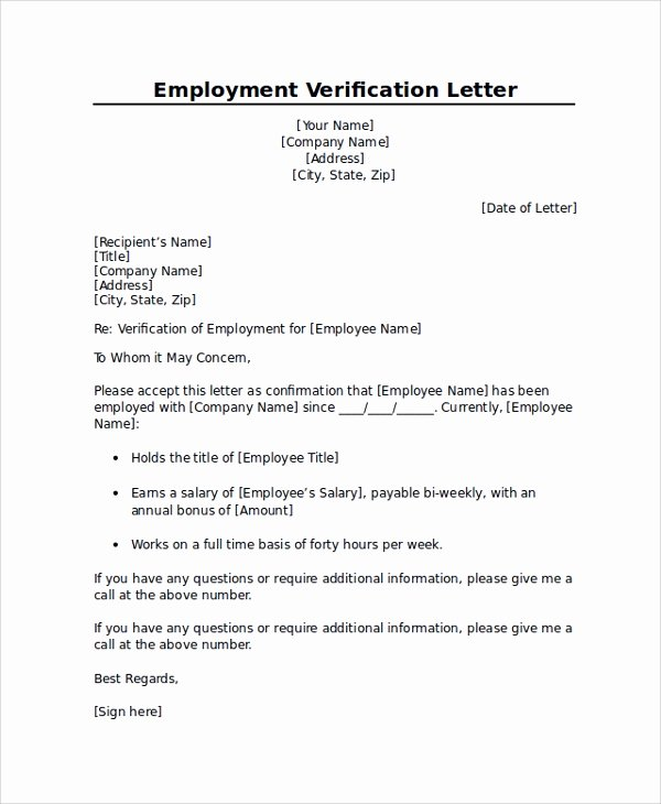 Sample Employee Verification Letter Lovely Employment Verification Letter Templates 7 Documents In