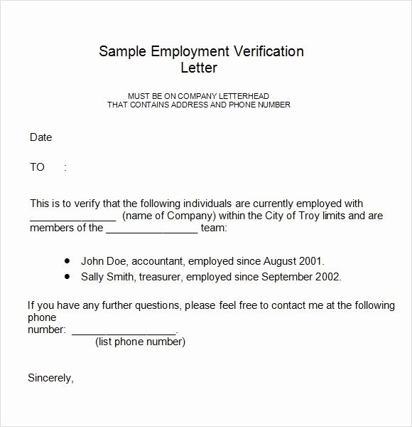Sample Employee Verification Letter New Employment Verification Letter 14 Download Free