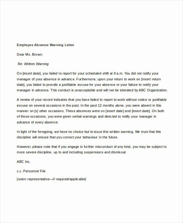 Sample Employee Warning Letter Beautiful Warning Letter to Employee