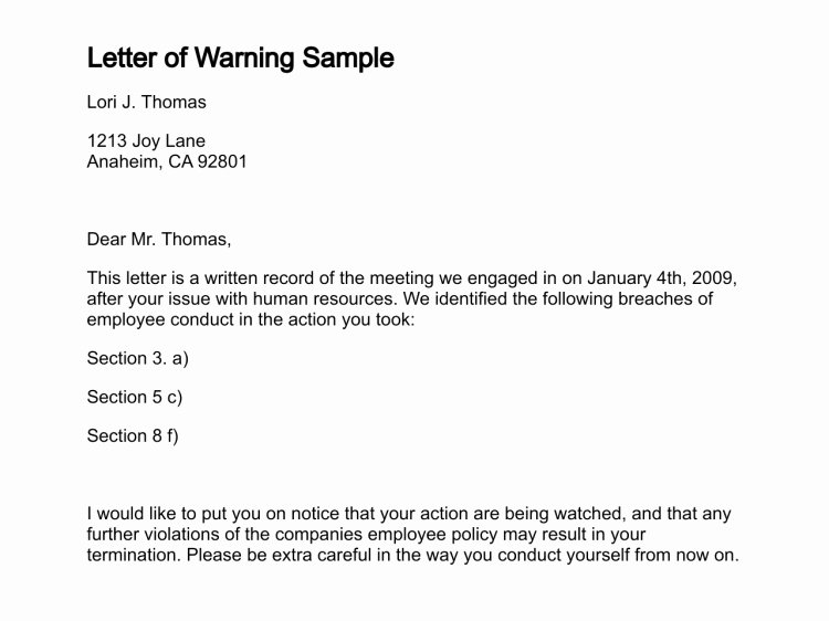 Sample Employee Warning Letter Fresh Employer Warning Letter to Employee