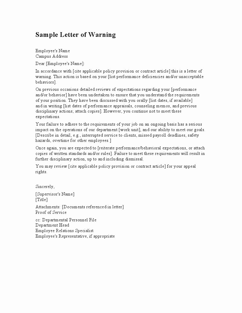 Sample Employee Warning Letter Inspirational Employee Warning Letter Template