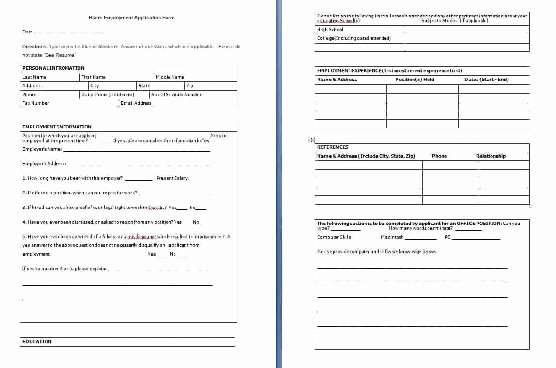 Sample Employment Application Word Fresh Blank Employment Application form Free formats Excel Word