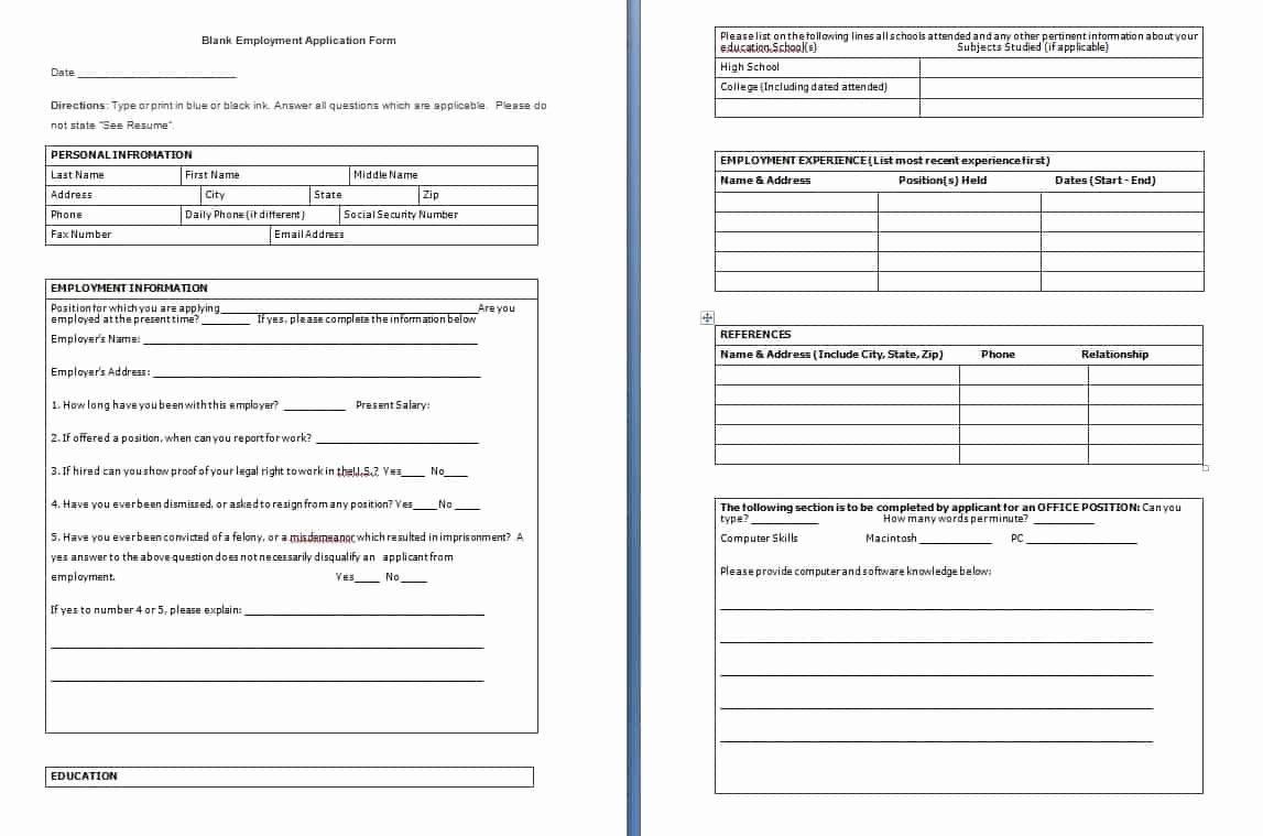 Sample Employment Application Word Fresh Blank Employment Application form Free formats Excel Word