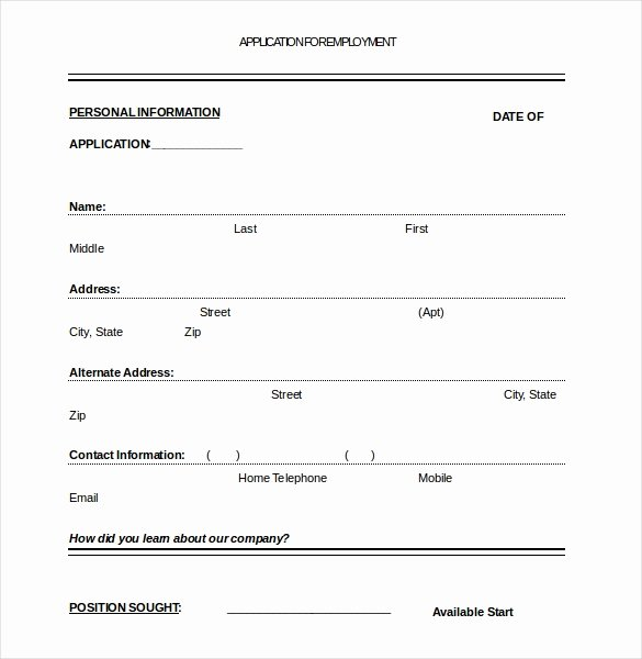 Sample Employment Application Word Inspirational Job Application Template – 10 Free Word Pdf Documents