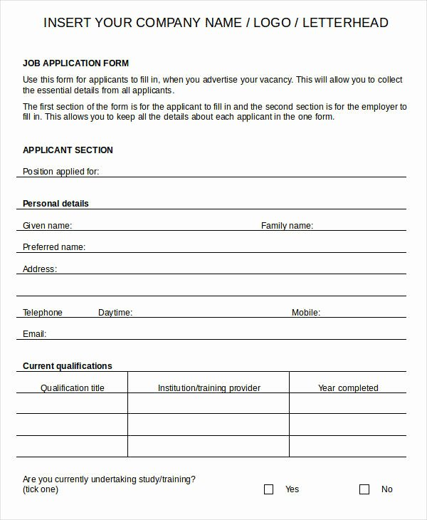 Sample Employment Application Word Luxury Blank Job Application 8 Free Word Pdf Documents