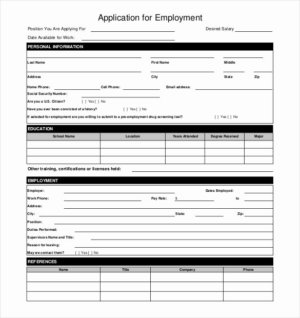 Sample Employment Application Word Unique 10 Restaurant Application Templates – Free Sample