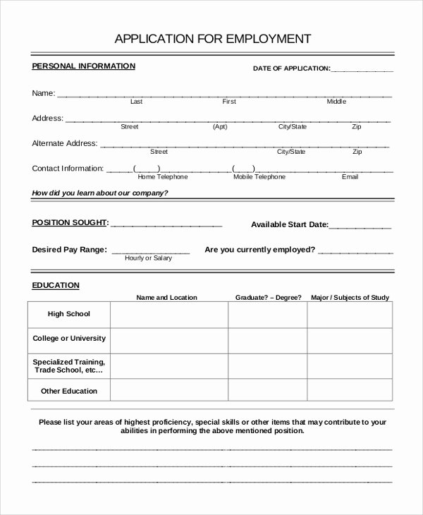 Sample Employment Application Word Unique Filling In Application forms Examples