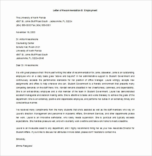 Sample Employment Reference Letter Beautiful Job Re Mendation Letter Templates 15 Sample Examples