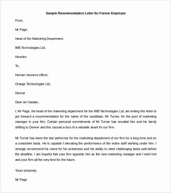 Sample Employment Reference Letter Lovely Re Mendation Letter format
