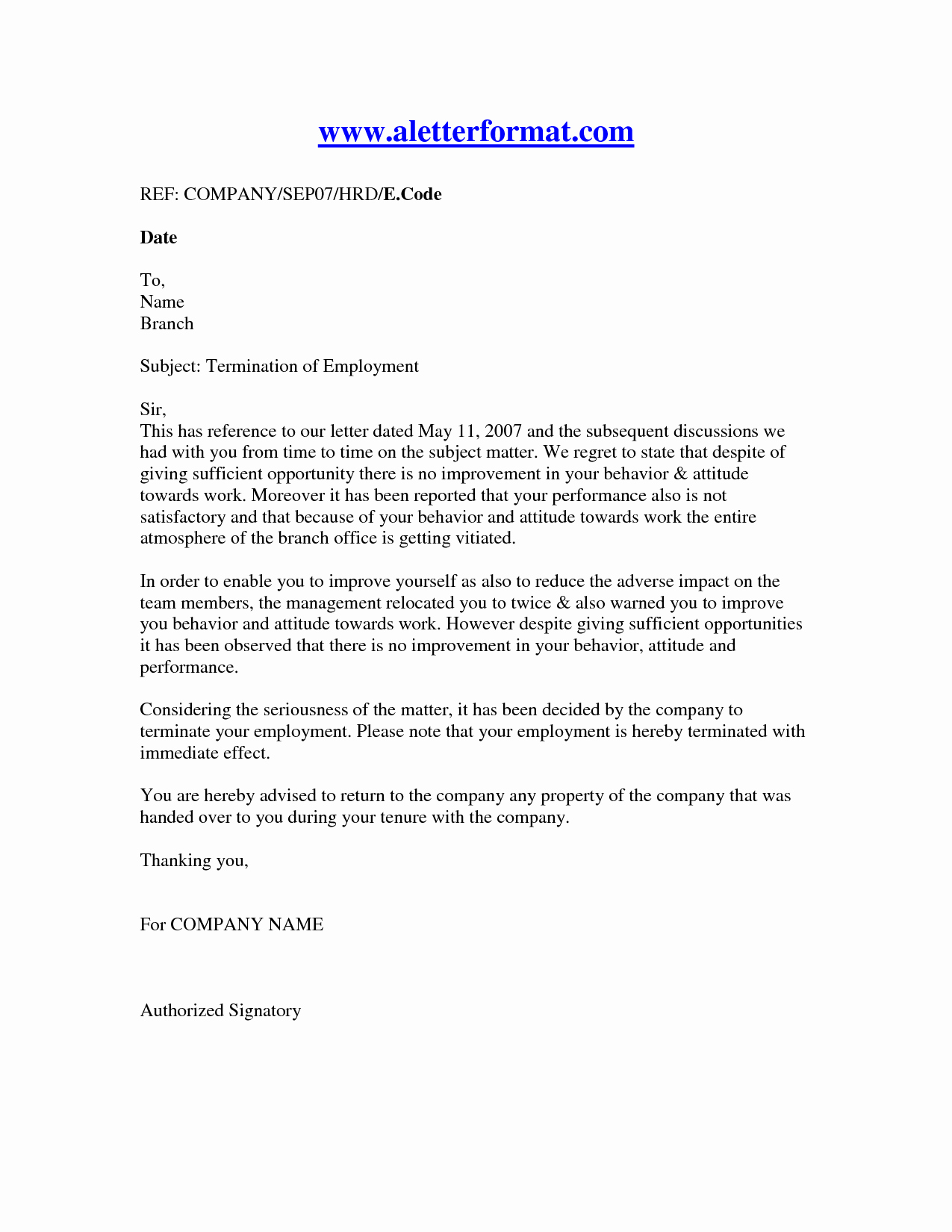 Sample Employment Termination Letter Awesome Termination Letter