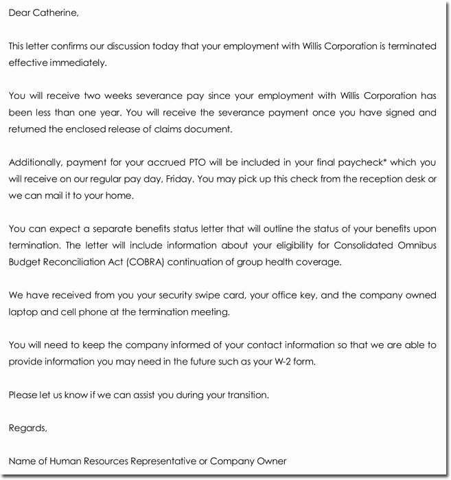 Sample Employment Termination Letter Beautiful 28 Samples Of Termination Letter Templates & formats