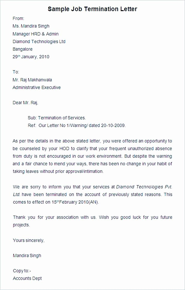 Sample Employment Termination Letter Inspirational 19 Termination Letter Sample – How It Should Be Written