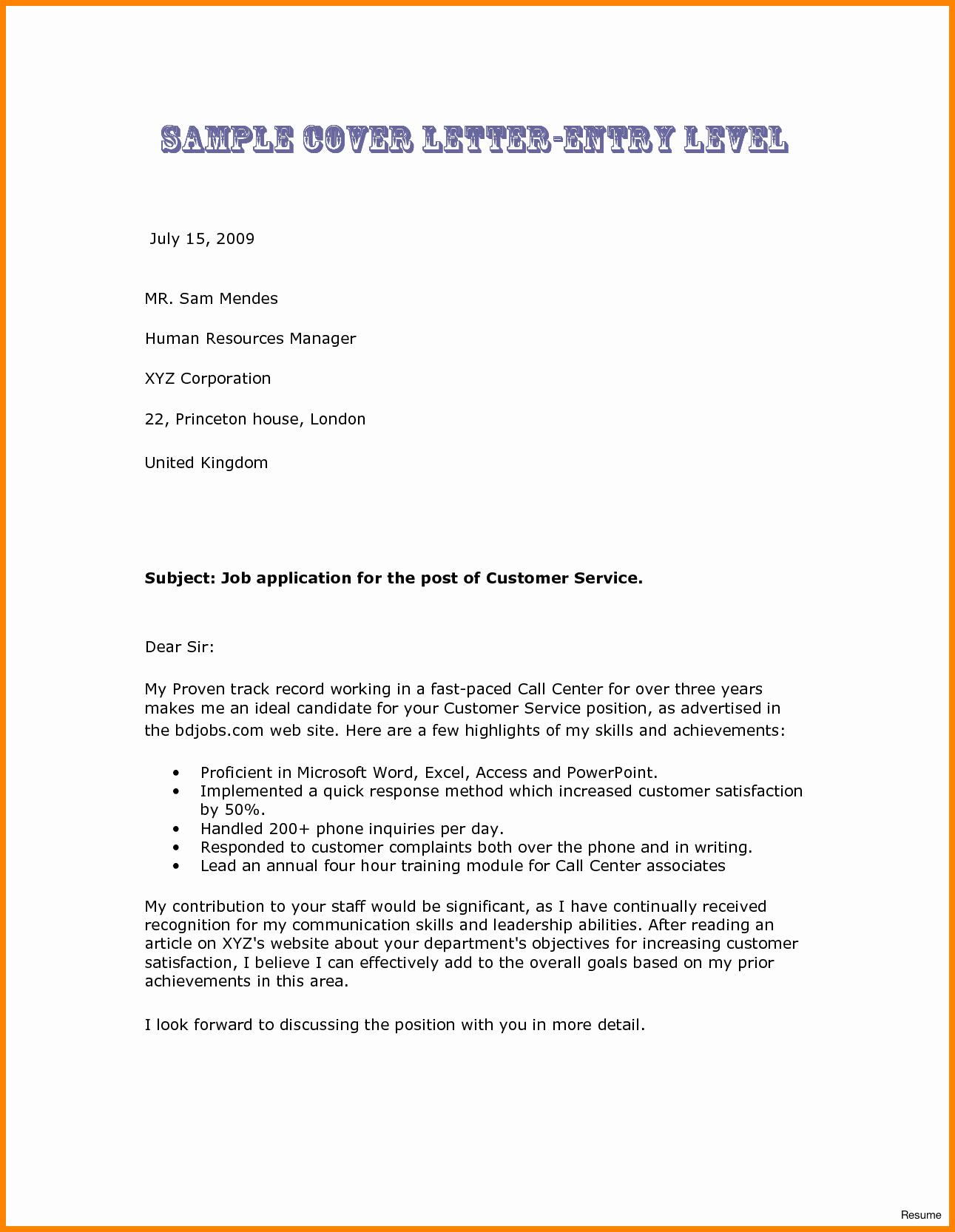 Sample Entry Level Cover Letters Elegant 7 Entry Level Nurse Cover Letter
