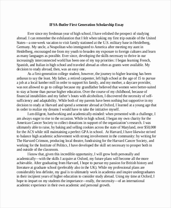 Sample Essay for Scholarship Best Of 9 Scholarship Essay Examples