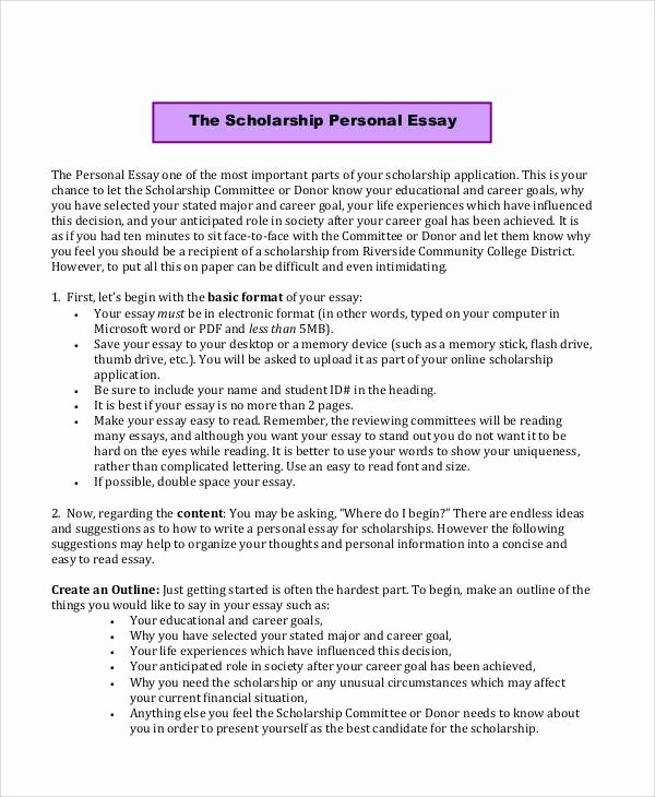 Sample Essay for Scholarship Lovely Sample Scholarship Application Essay 6 Examples In Word