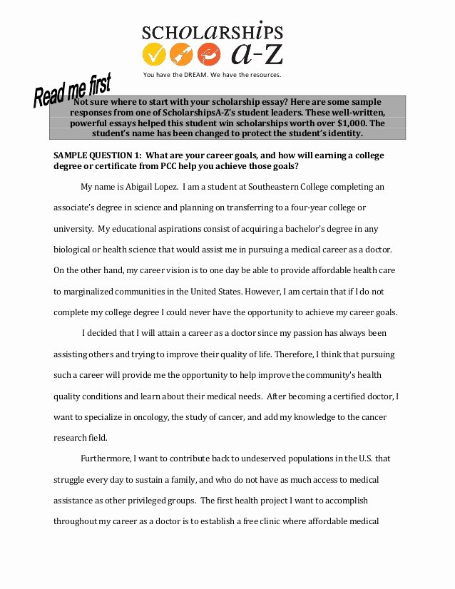 Sample Essay for Scholarship New Sample Scholarship Essays