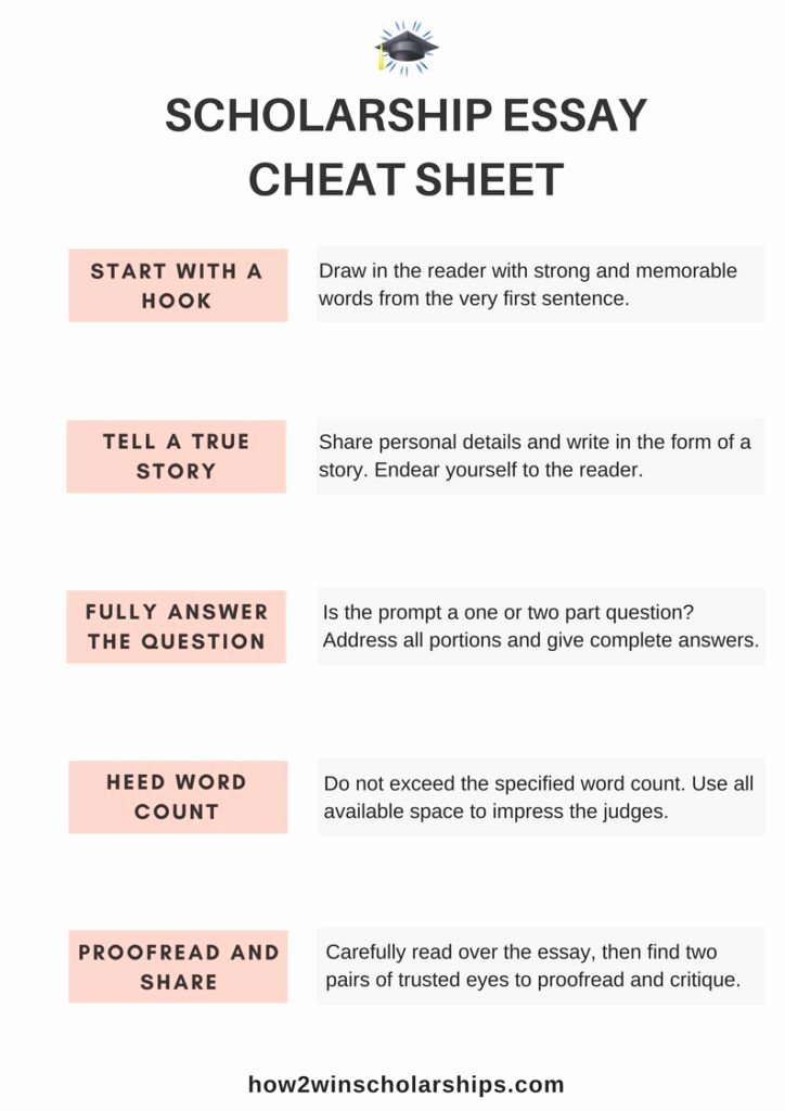 Sample Essay for Scholarship New Scholarship Essay Cheat Sheet for Students Free Printable