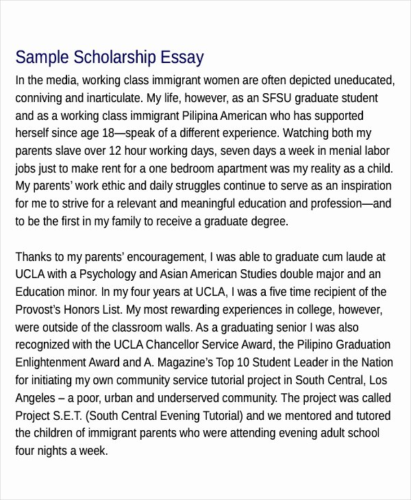 Sample Essay for Scholarship Unique Free 20 Scholarship Essay Examples & Samples In Pdf