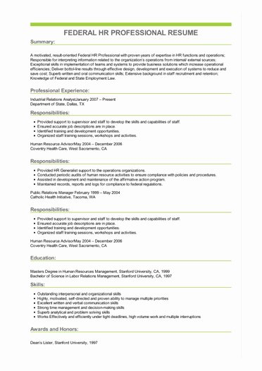 Sample Federal Government Resume Best Of Sample Federal Hr Professional Resume