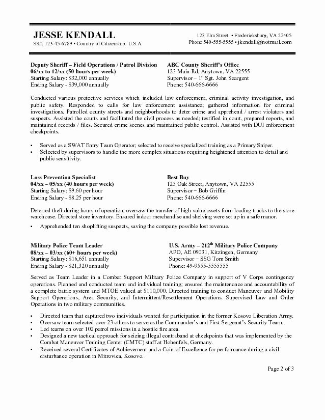 Sample Federal Government Resume Elegant Federal Resume Example