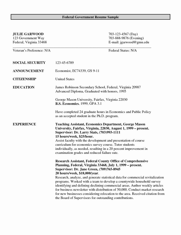 Sample Federal Government Resume New format Federal Government Resume