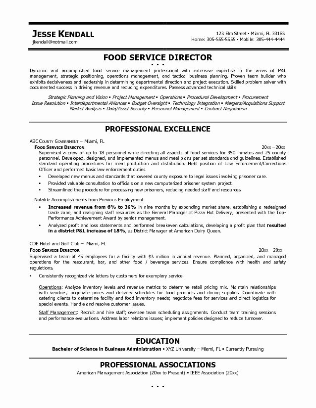 Sample Food Service Resume Awesome Food Service Manager Resume