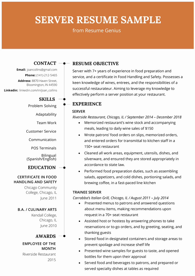 Sample Food Service Resume Beautiful Server Resume Example & Writing Tips