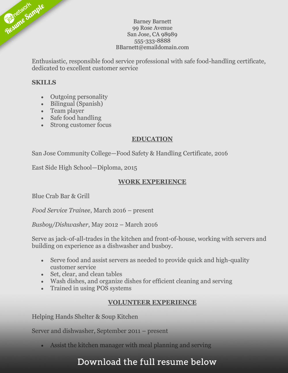 Sample Food Service Resume Fresh How to Write A Perfect Food Service Resume Examples Included