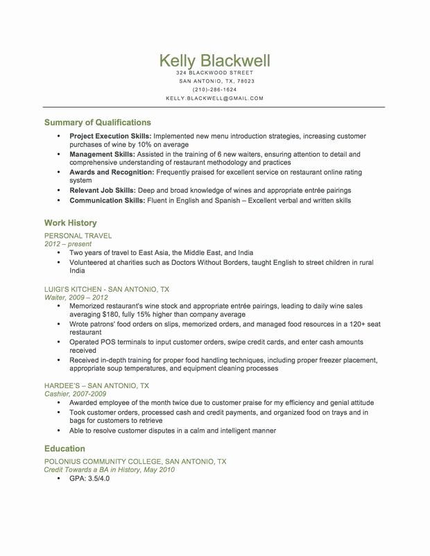 Sample Food Service Resume Inspirational Bination Food Service Resume
