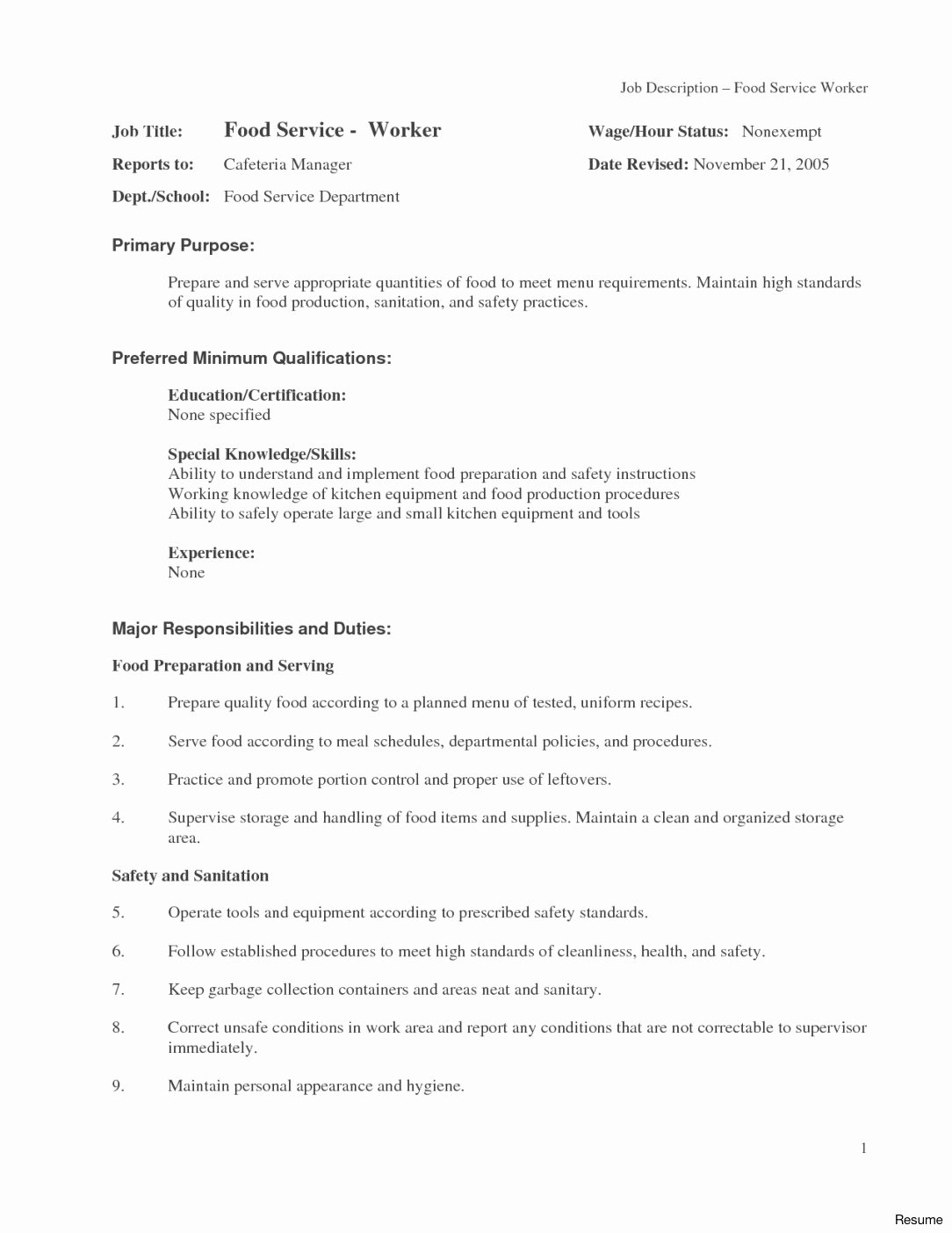 Sample Food Service Resume Luxury 13 14 Sample Food Service Resumes