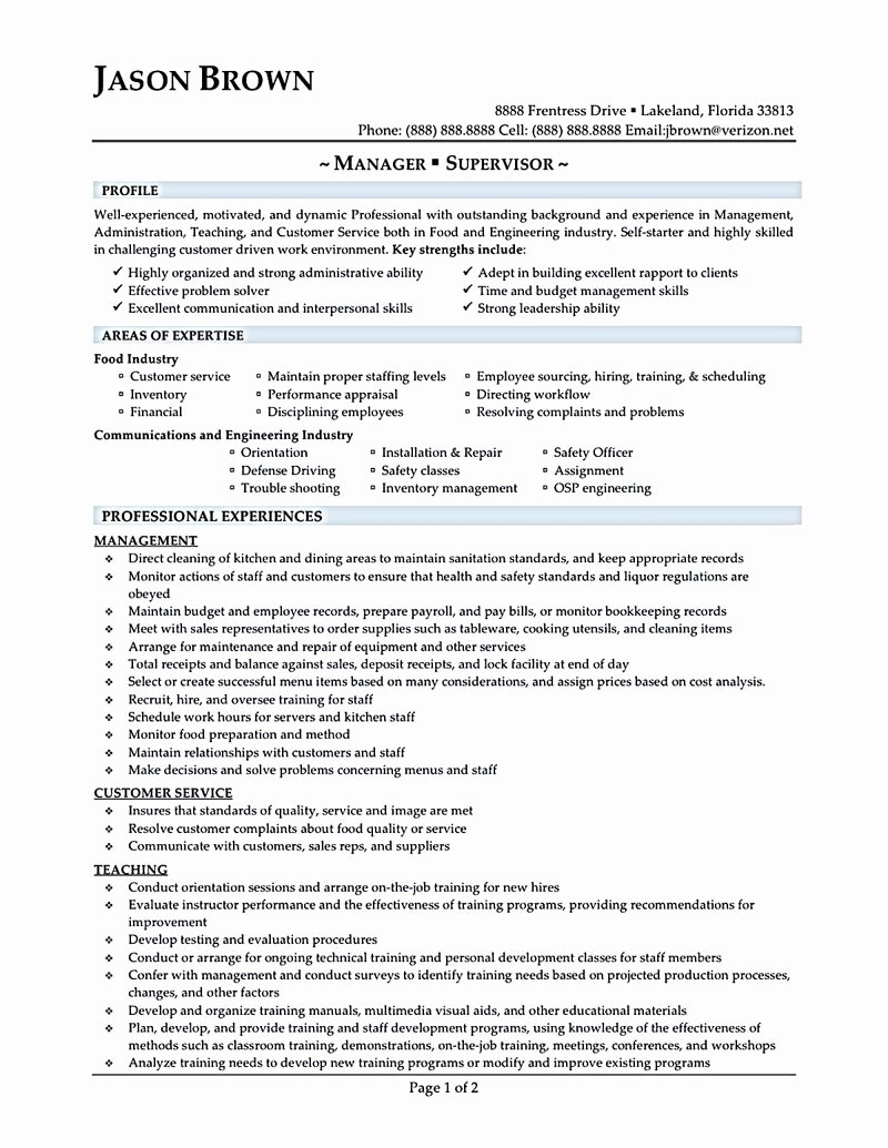Sample Food Service Resume New 13 14 Sample Food Service Resumes