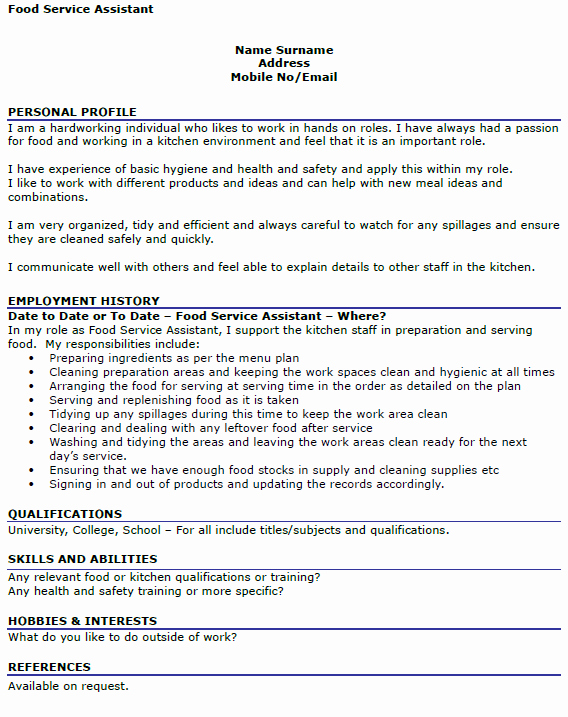 Sample Food Service Resume Unique Food Service assistant Cv Example Icover