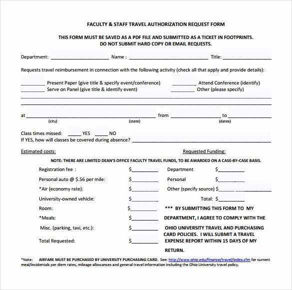 Sample forms In Word Awesome Sample Travel Authorization form 8 Download Free